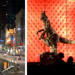 A gauche feu d'artifice entre les immeubles, à droite kangourou en tenue de soirée chiquement accessoirisée
