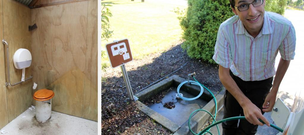 A gauche, les toilettes sèches les moins confortables que nous ayons rencontrés dans les DOC, à droite, remplissage du réservoir d'eau dans une station de vidange (dump station)
