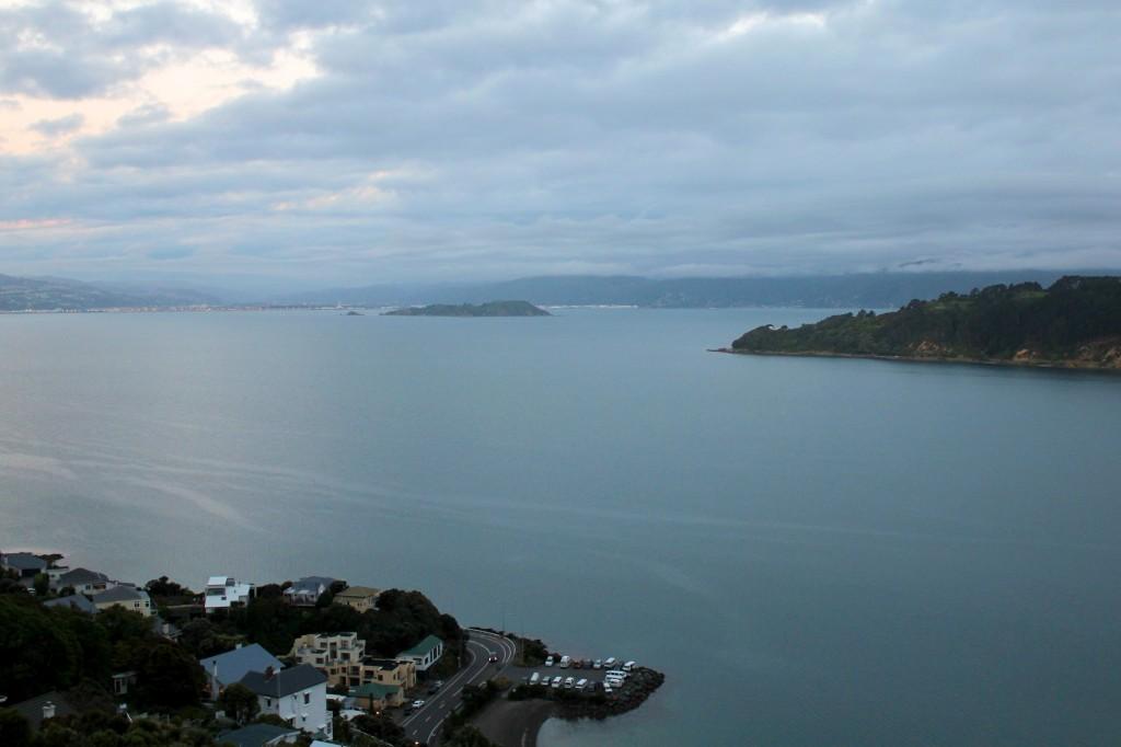 Le parking où nous avons passé trois nuits à Wellington, vu du mont Victoria