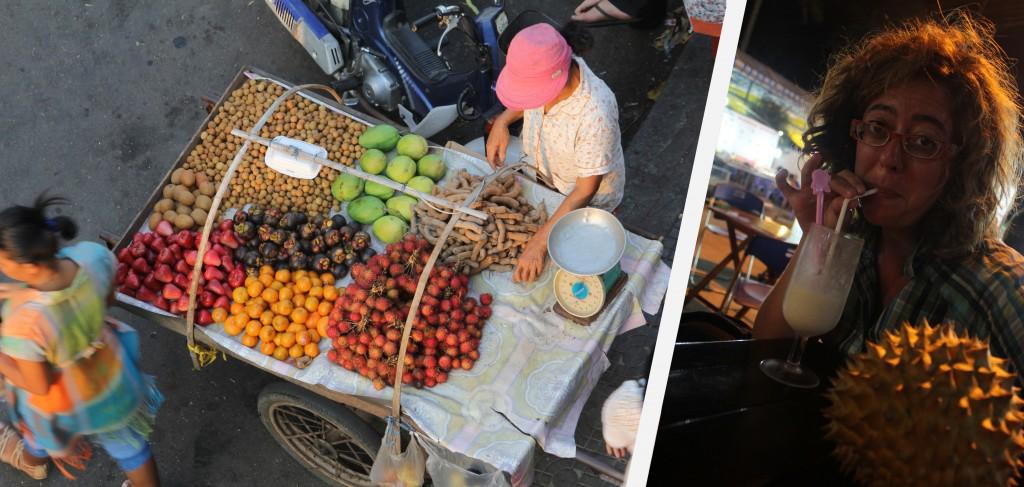 Etal de fruits et dégustation fameuse d'un milk shake au durian