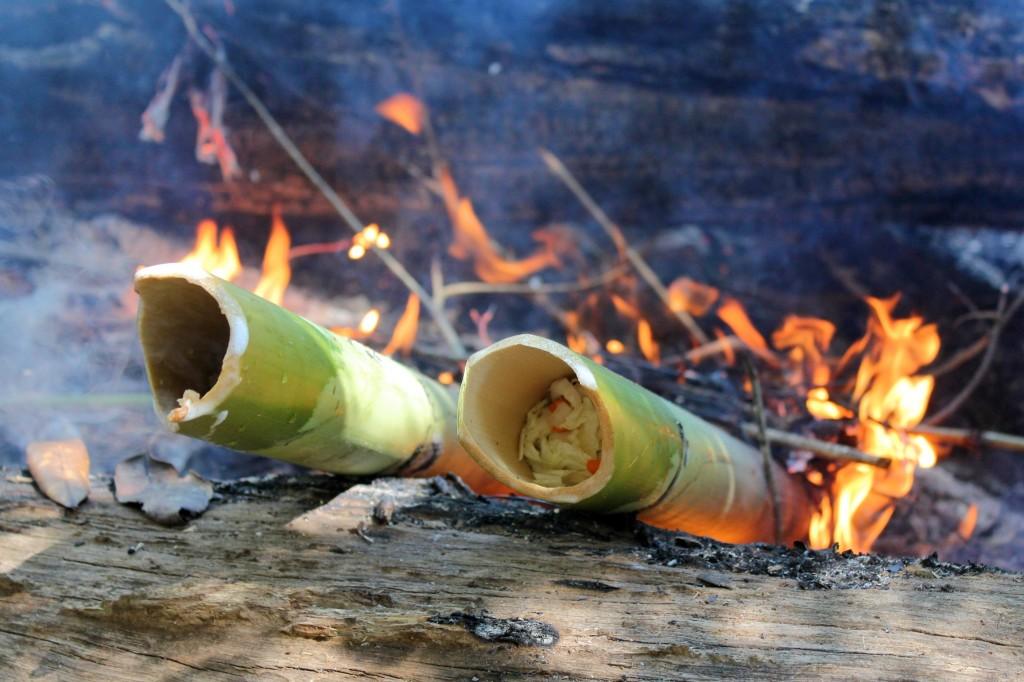 Légumes cuits à la vapeur dans du bambou dans la jungle du Mondolkiri