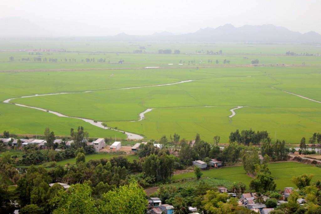 Rizières et frontière cambodgienne depuis le mont Sam à Chau Doc