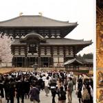 Temple du Daibutsu-Den (l'un des plus grand temple en bois du monde hébergeant un bouddha en bronze de 16 mètres de haut) à Nara