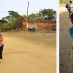 Chemin sablonneux aux milieux des temples et petit vendeur de cartes postales