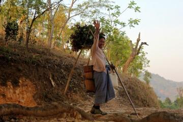 Paysanne shan revenant au village après une dure journée de travail