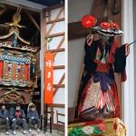 A gauche, char dans son sanctuaire et à droite spectacle de marionnette