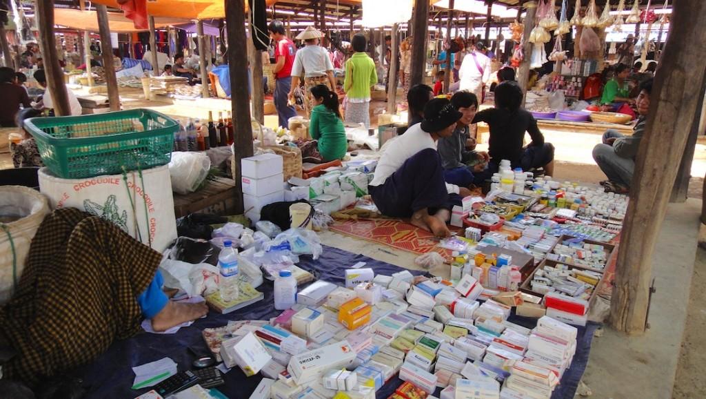 Etal sur un marché en Birmanie